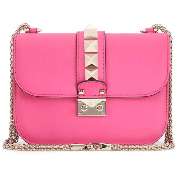 Valentino Lock Small Leather Shoulder Bag (€1.750) ❤ liked on Polyvore featuring bags, handbags, shoulder bags, pink, valentino handbags, kiss-lock handbags, pink handbags, leather purses and genuine leather handbags