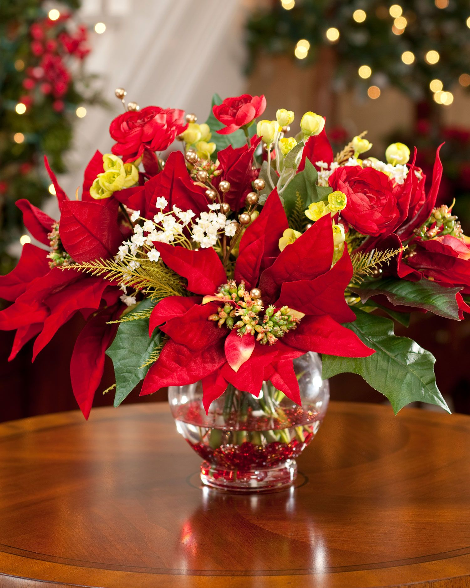 Poinsettia Ranunculus Silk Holiday Arrangement Holiday Floral Arrangements Christmas Floral Arrangements Christmas Floral