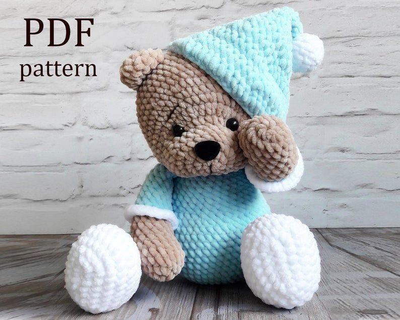 Amigurumi «Teddy bear in pajamas» Crochet pattern PDF. Tutorial.