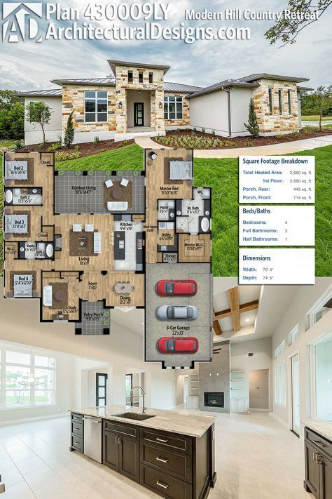 Architectural designs modern hill country house plan ly gives you beds and over square feet of heated living space inside ready when are also retreat in architecture rh pinterest