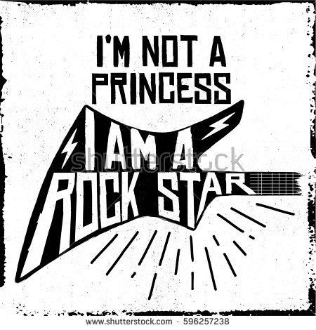 Rock Roll Not Princess Rock Star Stock Vector (Royalty