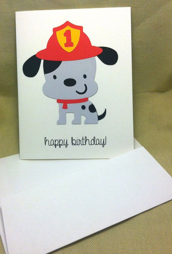 Die Cut Firefighter Dog Birthday Card  with by WillowCreekHandmade, $2.00