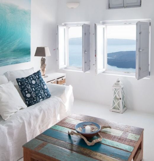 Photo of Simple Whitewashed Santorini Decor Idea for the Living Room | Shop the Look