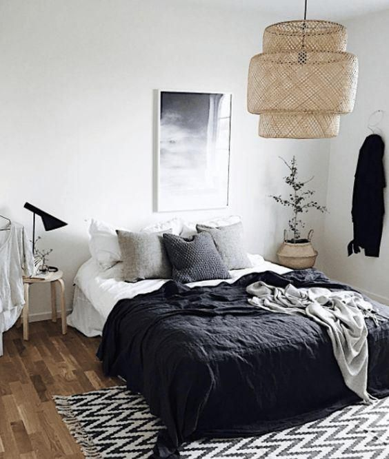 Scandinavian Bedroom In Greyscale Feather Lamp And Stucco Detailed Ceiling Cosy Bedroom Decor Bedroom Design Scandinavian Bedroom