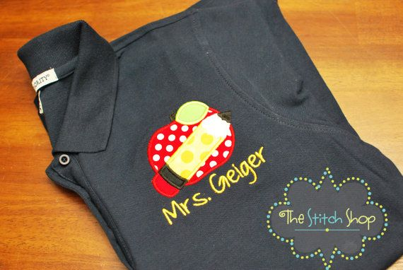 Custom Embroidered and Appliqued Ladies Teacher Polo