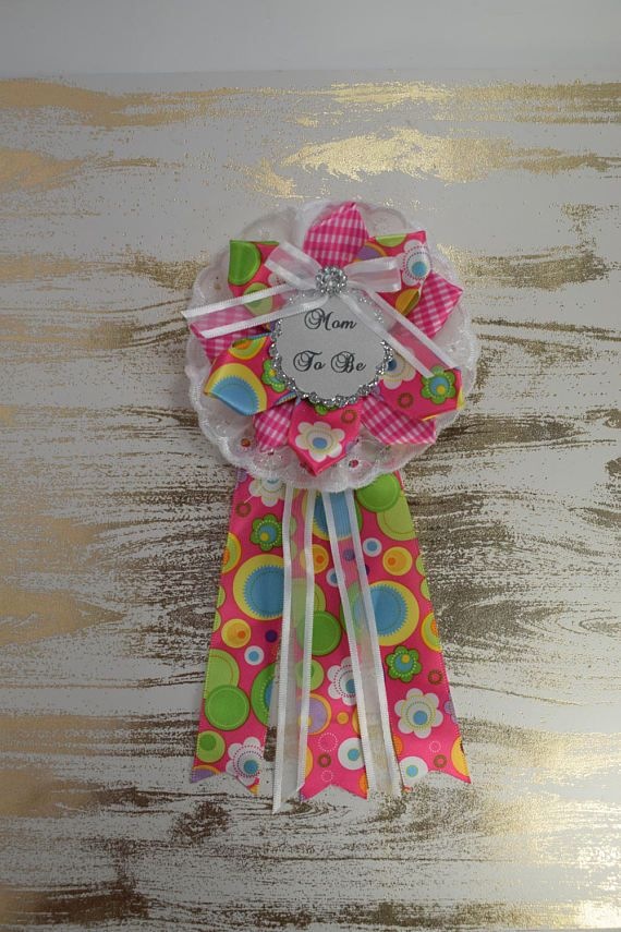 Hot Pink Pink and White Baby Shower Pin /Mama Mom Mommy to be