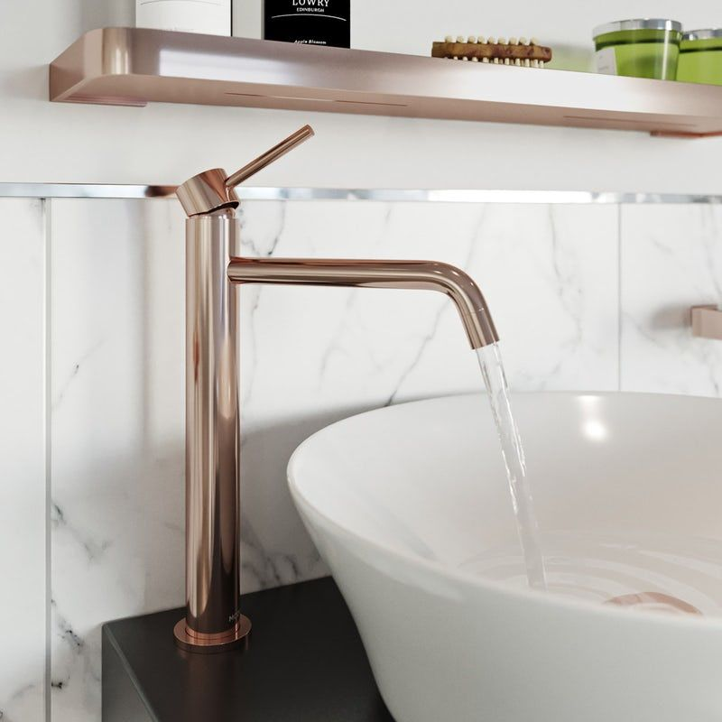 Mode Spencer Round Rose Gold High Rise Basin Mixer Tap Basin Mixer Taps Basin Mixer Mixer Taps