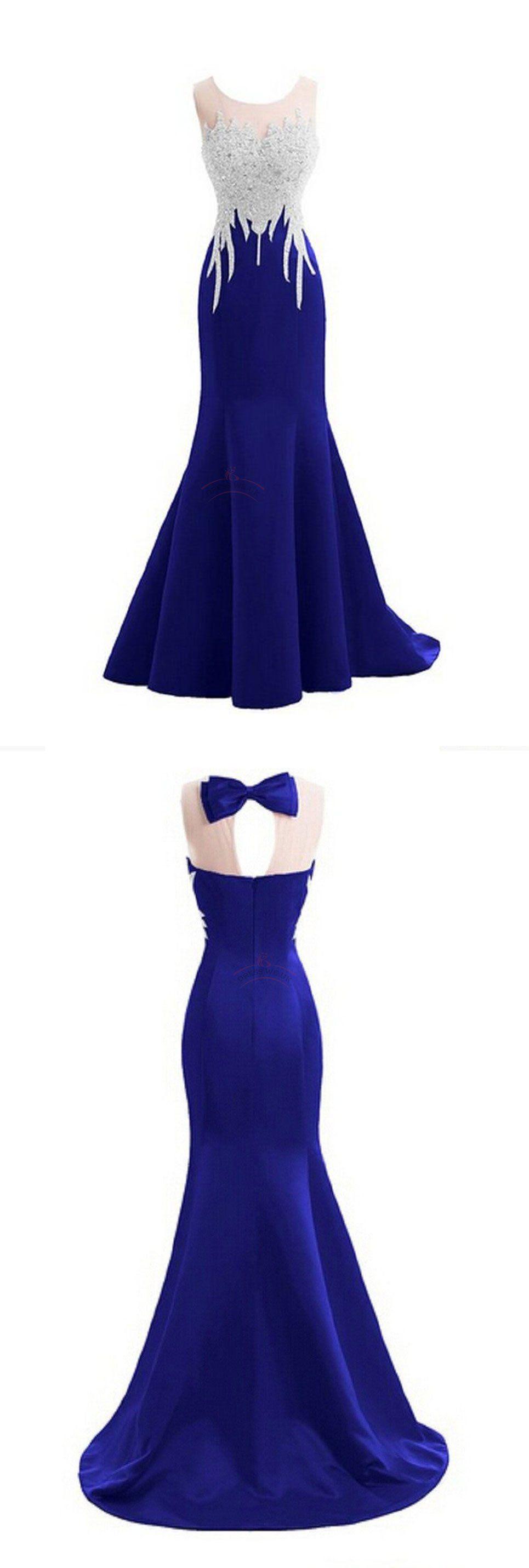 Sexy prom dresses scoop royal blue short train long prom dress