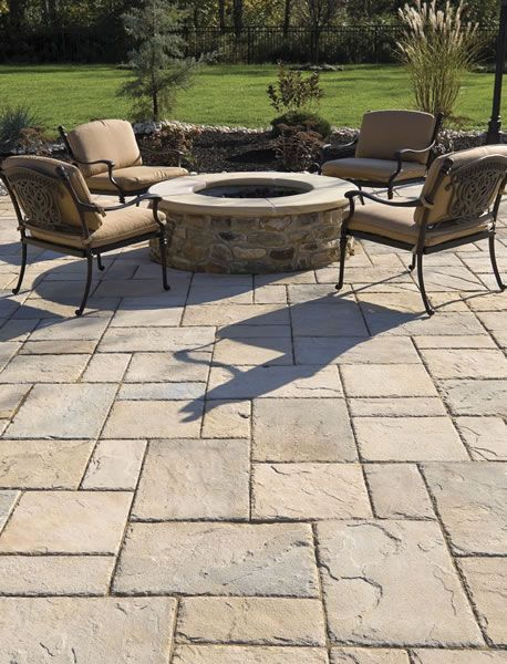 Patio With Large Pavers And Fire Pit Stone Patio Designs
