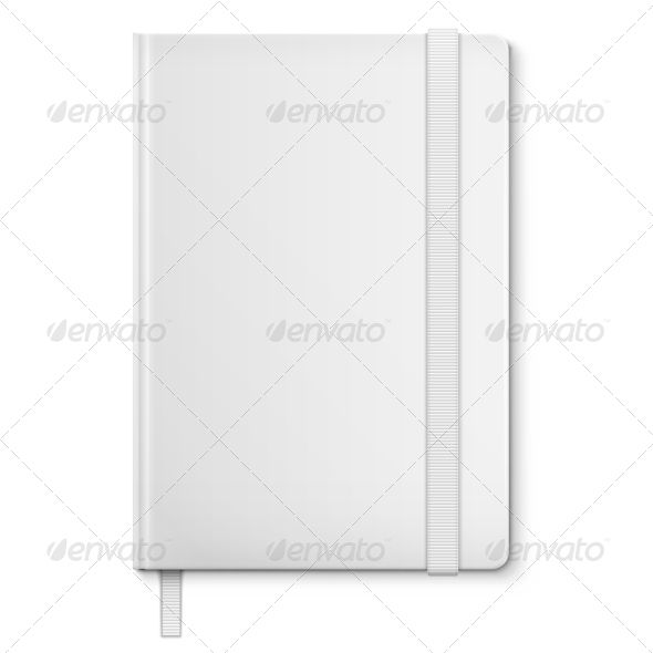 Realistic White Blank Notebook With bookmark Cover design - blank bookmark template