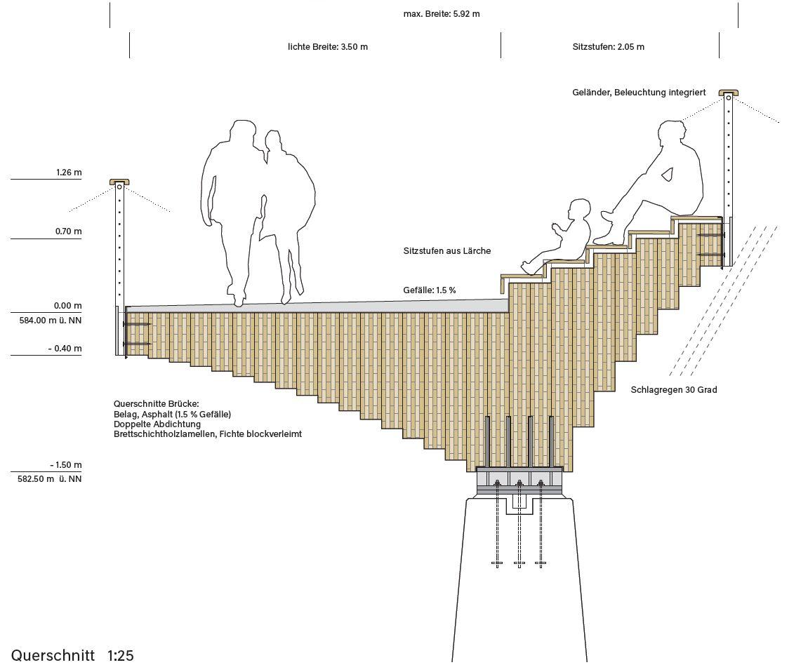 pedestrian bridge section | Bridge structure, Bridge design