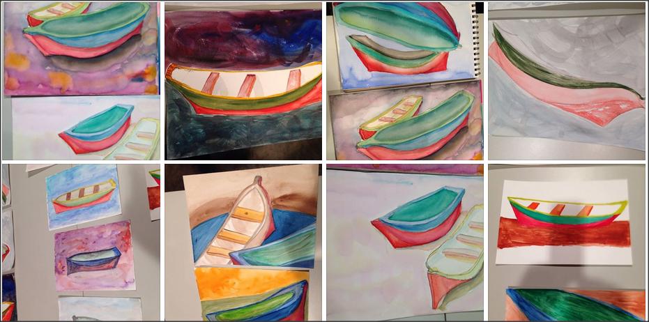 canoas caiçara, na aula de aquarela da amiga Ashraf Klink