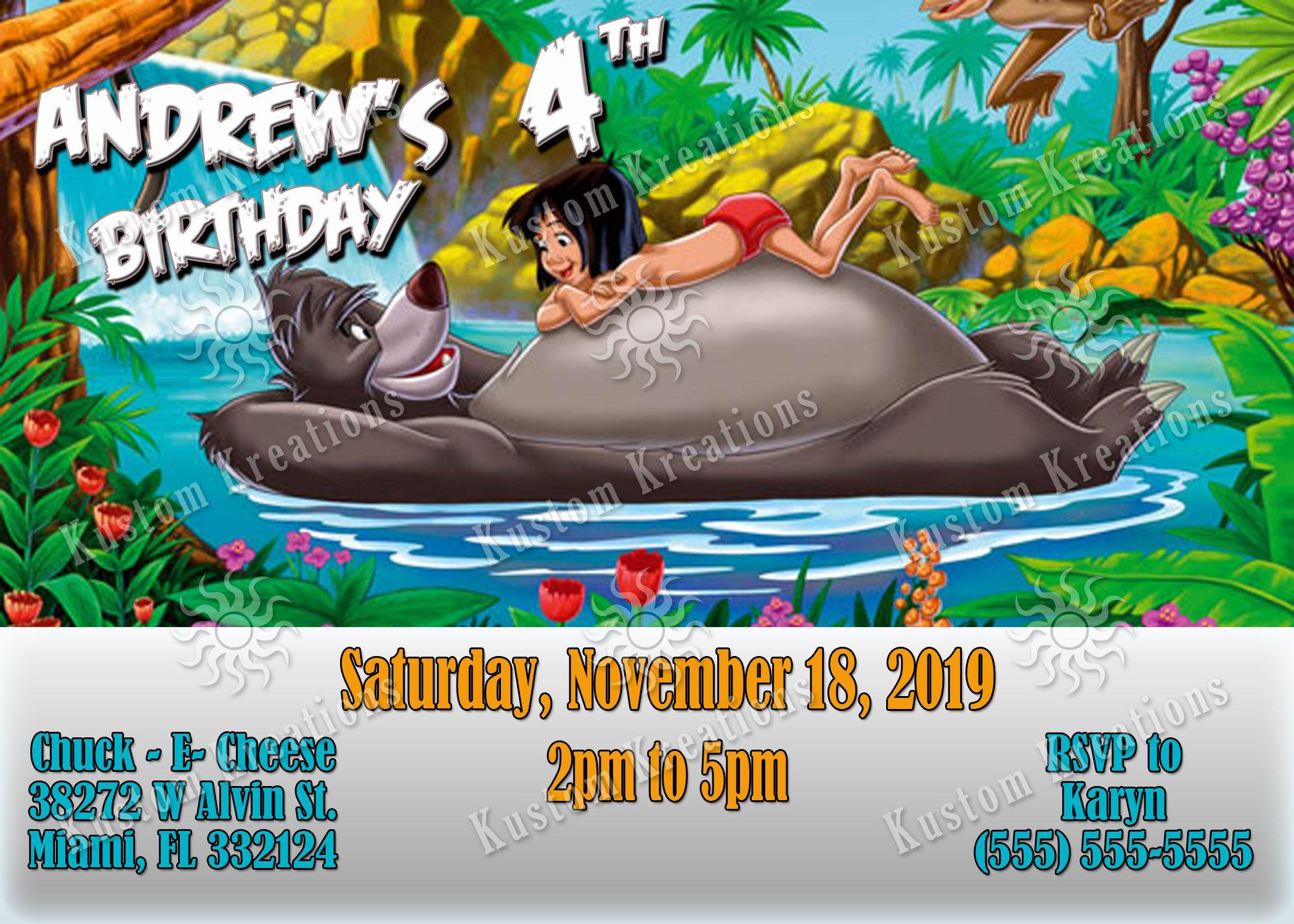 The Jungle Book Birthday Invitations  Jungle book birthday invite