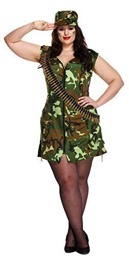 Fashion Bug Sexy Army Girl Military Fancy Dress Plus Size Soldier
