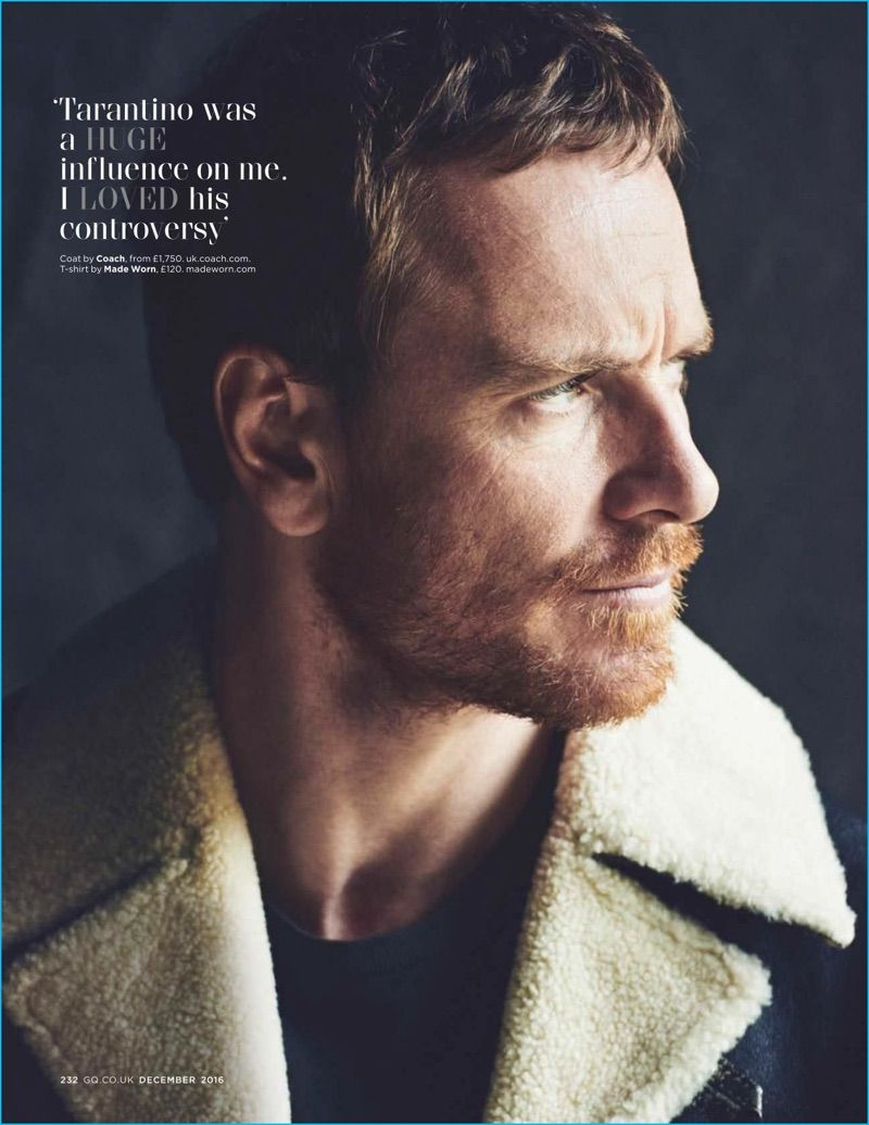 Matthew Brookes photographs Michael Fassbender in a Coach coat with a Made Worn t-shirt.