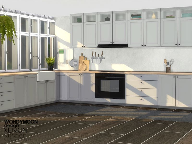 Xenon Kitchen Found In Tsr Category Sims 4 Kitchen Sets Sims 4