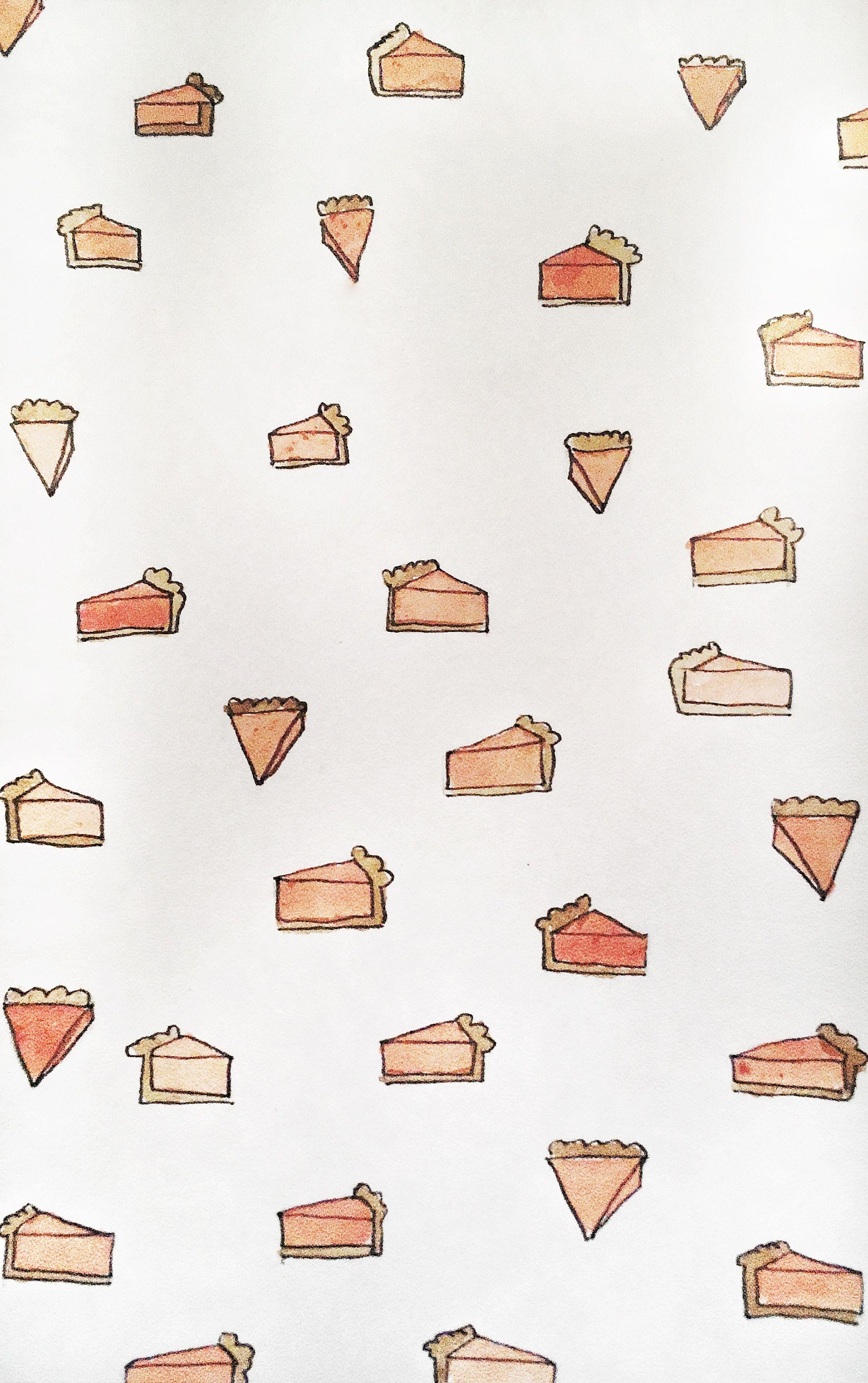 Pumpkin pie iPhone watercolor wallpaper Fall wallpaper