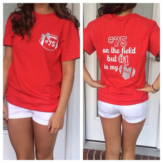 Football girlfriend shirt by glitterdazzleshine on etsy for Selling shirts on etsy