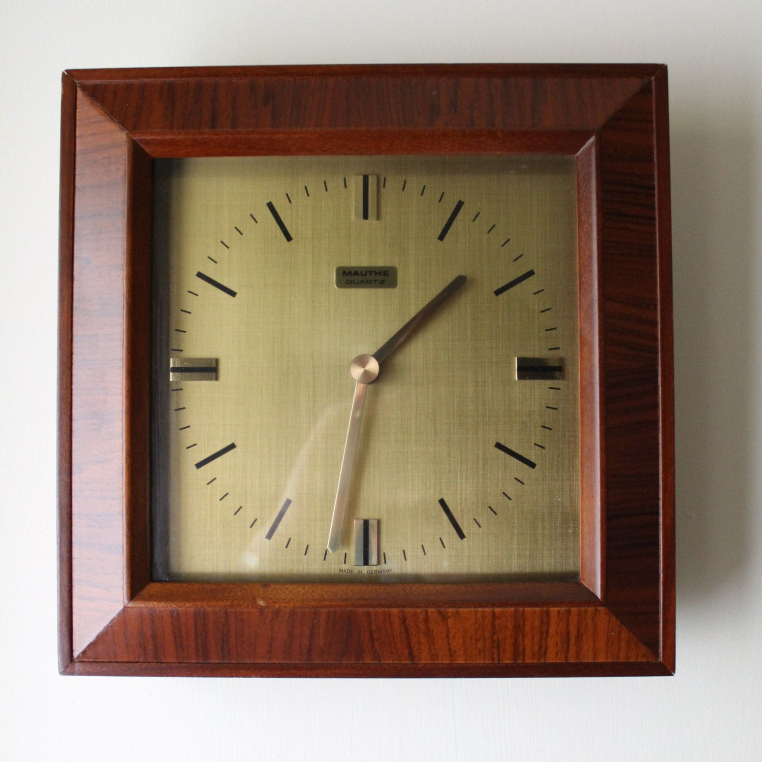 Reserved Vintage German Wall Clock Mauthe Quartz Etsy Wall Clock Clock German Wall