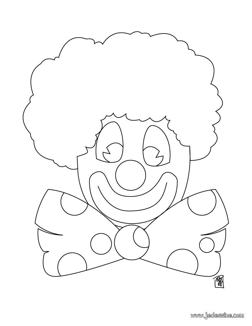Coloriage d 39 un clown au noeud papillon coloriages clown - Noeud coloriage ...