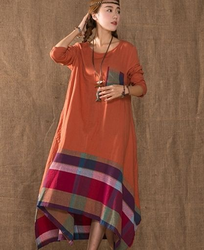 O97 Casual Maxi Plus Size Cotton Jointed Women s Long Dress