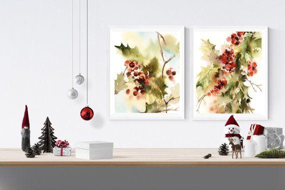 Christmas holly berries print set, 2 fine art prints, red green