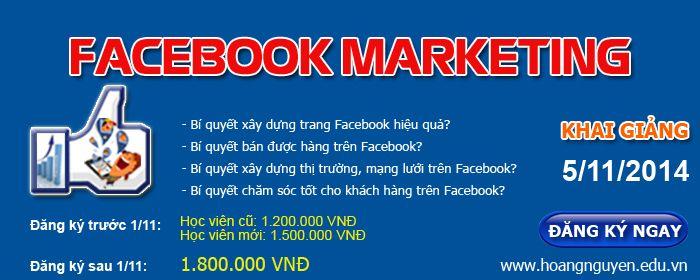 Hiện nay mạng xã hội Facebook đang dần dần chiếm được cảm tình của khách hàng ở mọi độ tuổi khác nhau và trở thành một mạng xã hội kinh doanh rất hiệu quả của các bạn trẻ hiện nay, để cho việc kinh doanh của bạn mua may bán đắt thì đừng bỏ lỡ cơ hội tham gia khóa học Facebook Marketing khám phá những bí quyết bán hàng thành công trên facebook nhé.