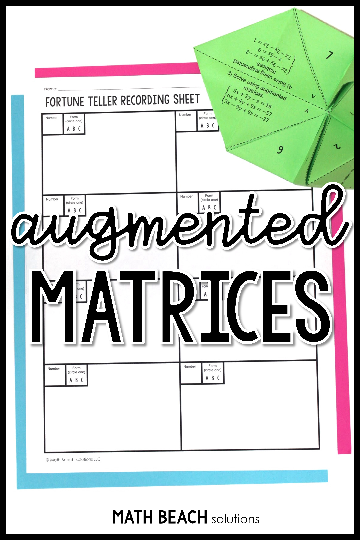 Augmented Matrices Fortune Teller Activity