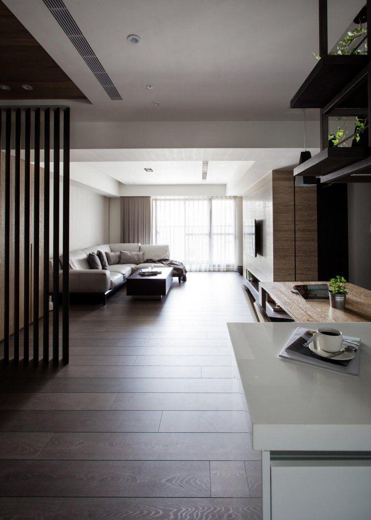 parquet fonc salon moderne cuisine ouverte et faux plafond moderne