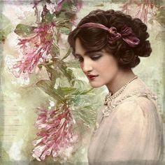 Vintage, Lady, Digital Art, Floral, Beautiful, Antique