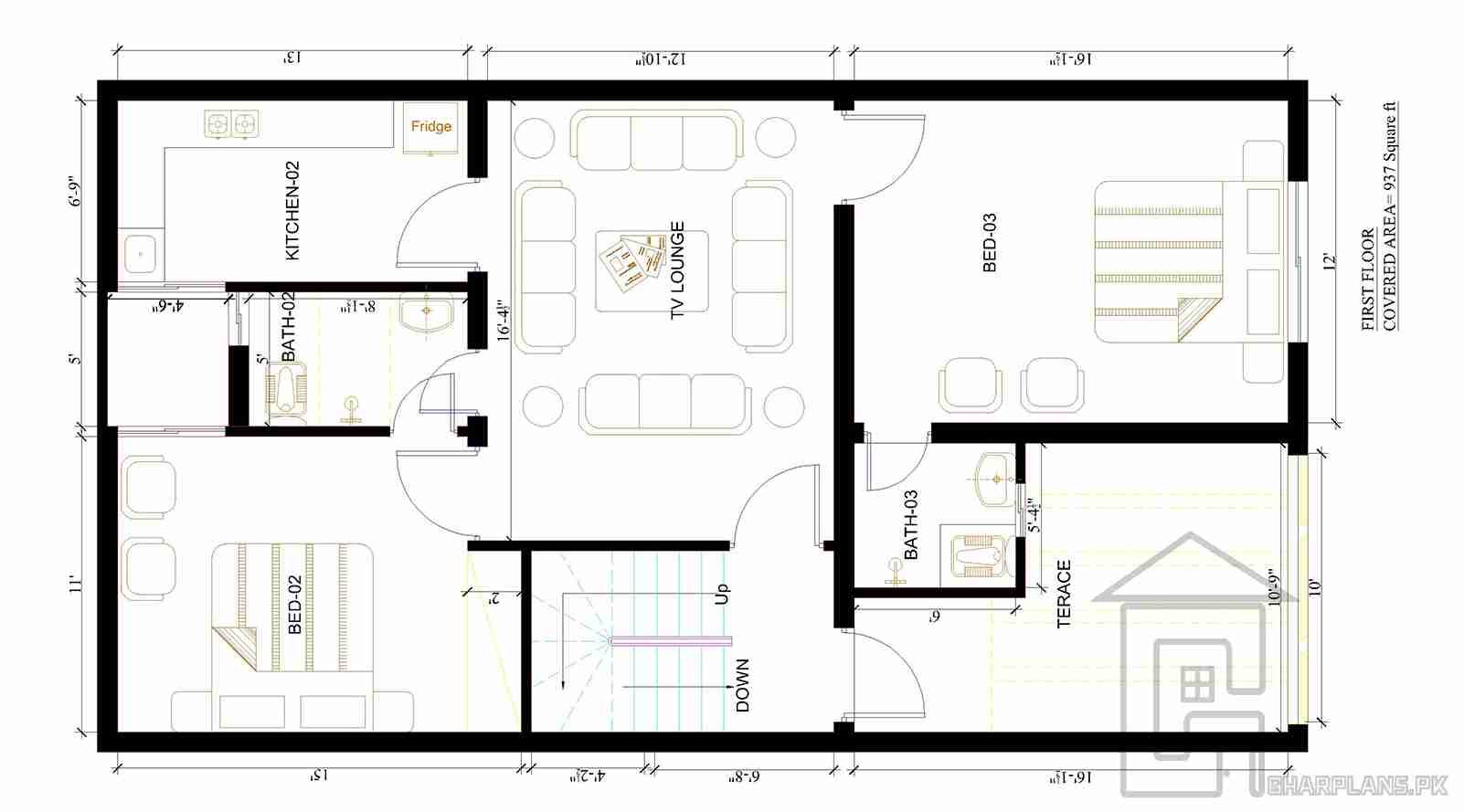 5 Marla House Floor Plan Of A House Constructed In Pakistan As It Is A Standard House Plan And Has 3 Bedrooms One Floor House Plans House Plans My House Plans