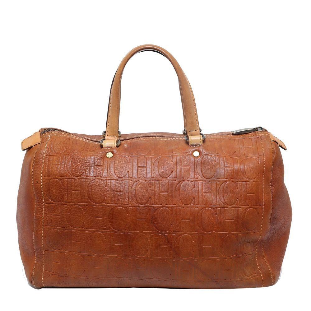 29712e59250 Auth Rare Carolina Herrera Brown CH Embossed Leather Andy Boston Shoulder  Bag