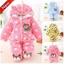Bebé recién nacido que arropan invierno polar del mameluco de la historieta  ropa los bebés Meninas oso de Down Snowsuit Pink monos azules(China  (Mainland)) d11131d1b8a
