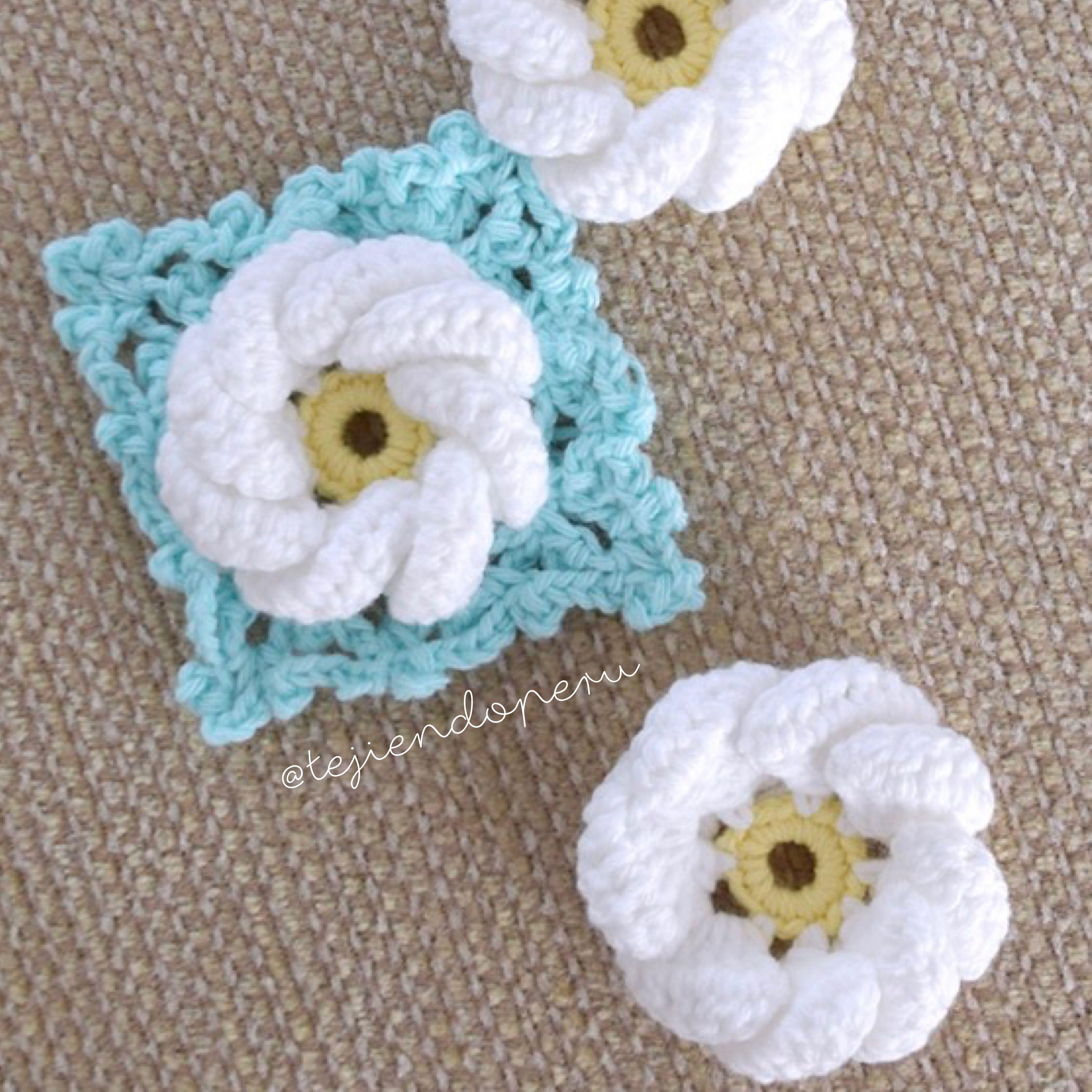 Flor remolino 3D y granny tejidos a crochet. Paso a paso en video ...