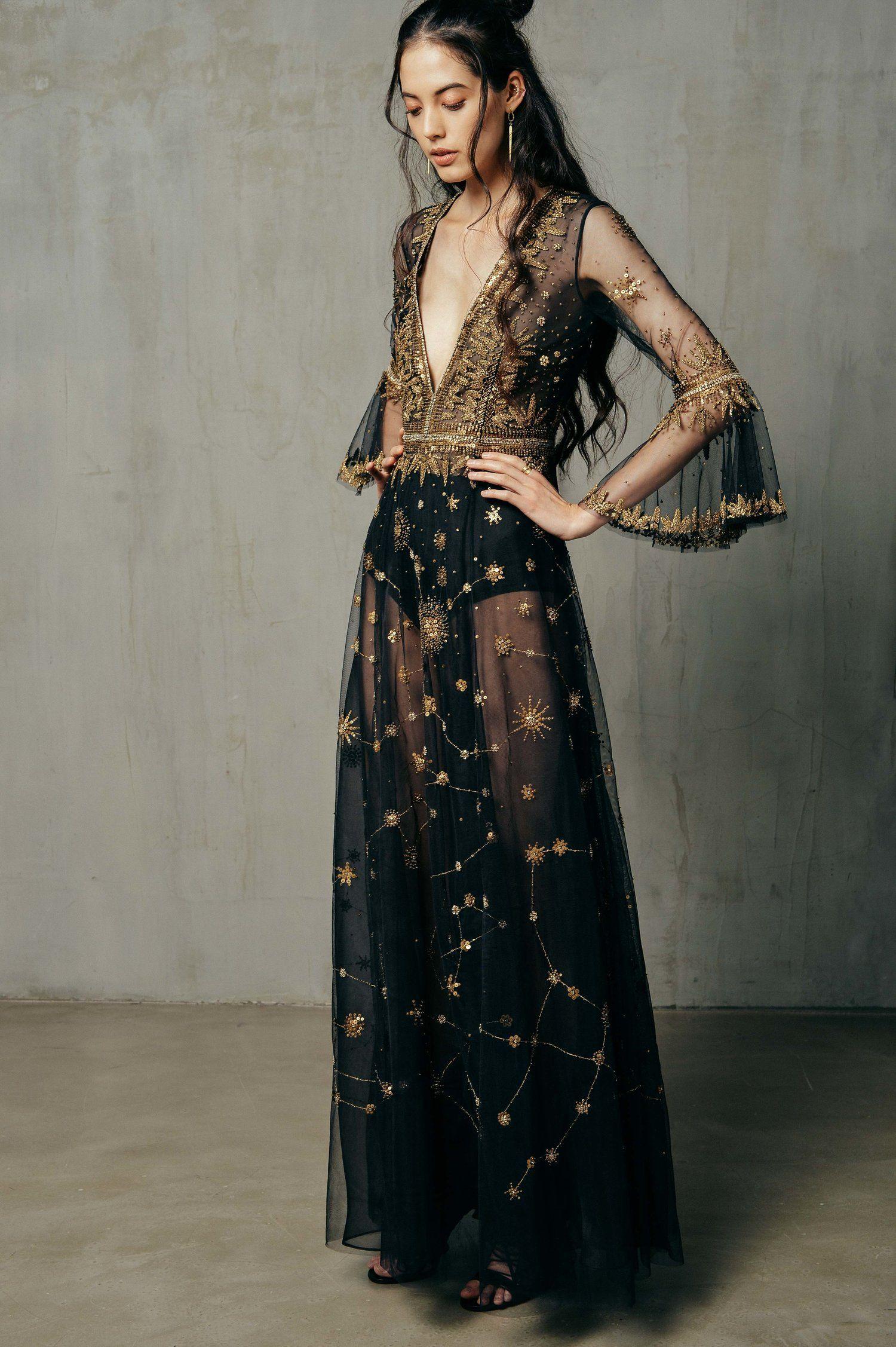 dcb464d8e93e HERA CONSTELLATION — CUCCULELLI SHAHEEN #womensfashion Gold Dress, Tulle  Dress, Dress Black,