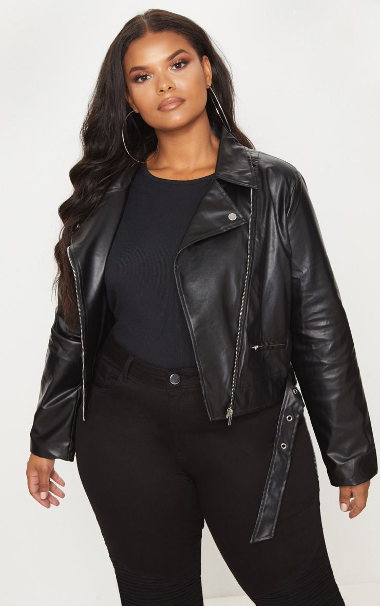 Plus Black PU Biker Jacket in 2020 Plus size leather