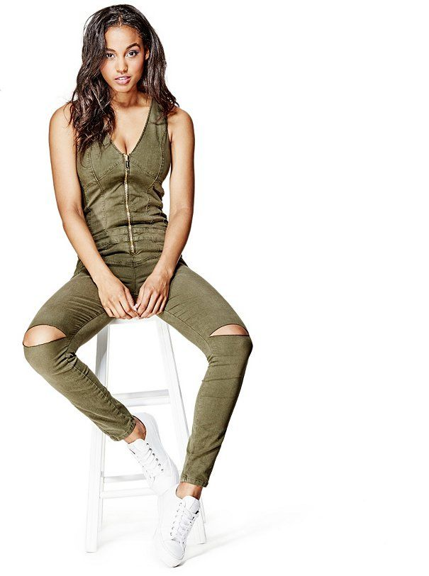 ae3f5916df3 Maxine Zip-Up Jumpsuit at Guess Olive Jumpsuit