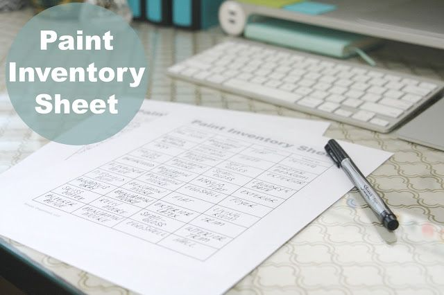Paint Inventory Sheet - Free Printable Organizing, Organizations