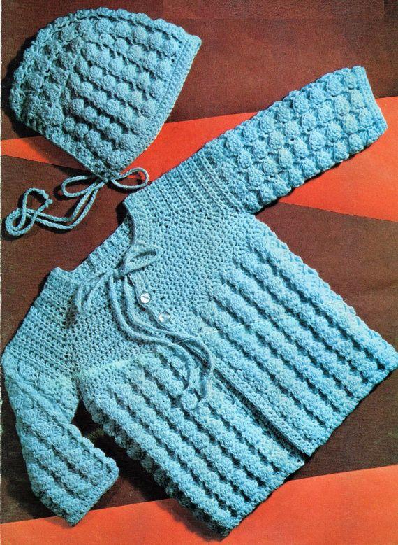 Pdf Crochet Pattern Baby Crochet Jacket And Bonnet 3ply Yarn