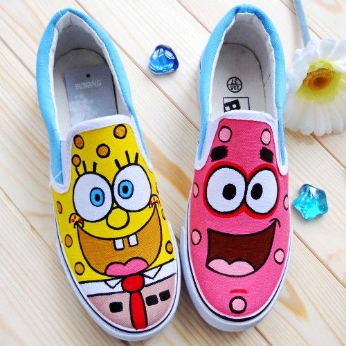 SpongeBob Canvas Shoes SpongeBob Slip on Painted Canvas