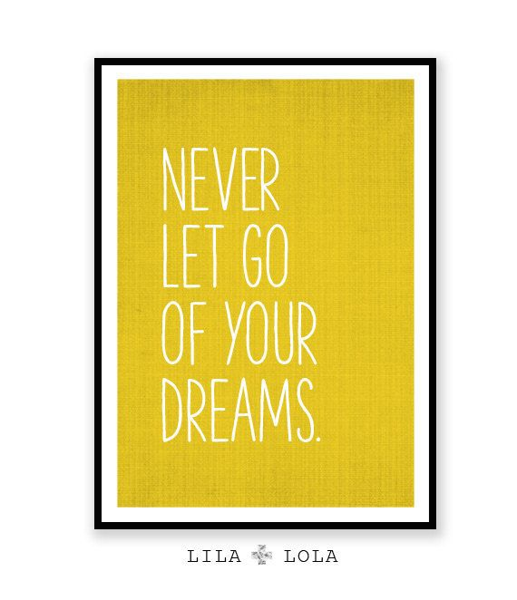 Inspirational Quote Wall Art Dreams Mustard Yellow Decor | College ...
