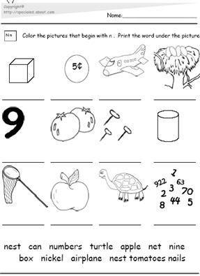 letter n worksheets the letter n the letter n picture and word match 22915
