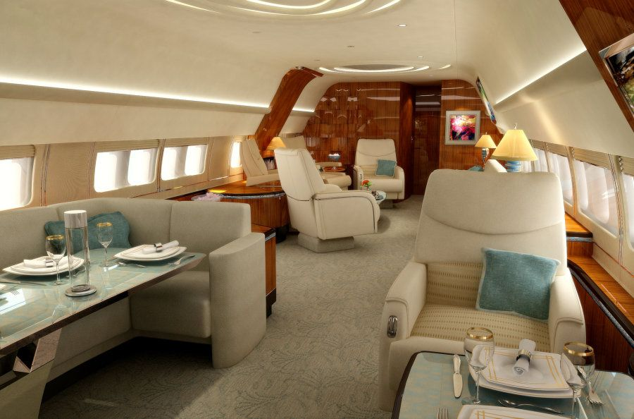 Enchanting Boeing 747 Private Jet Interior Design Ideas With Cozy Swivel Chairs And L Shaped