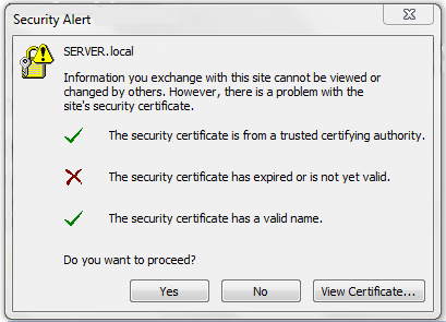 The security certificate has expired or is not yet valid in outlook ...