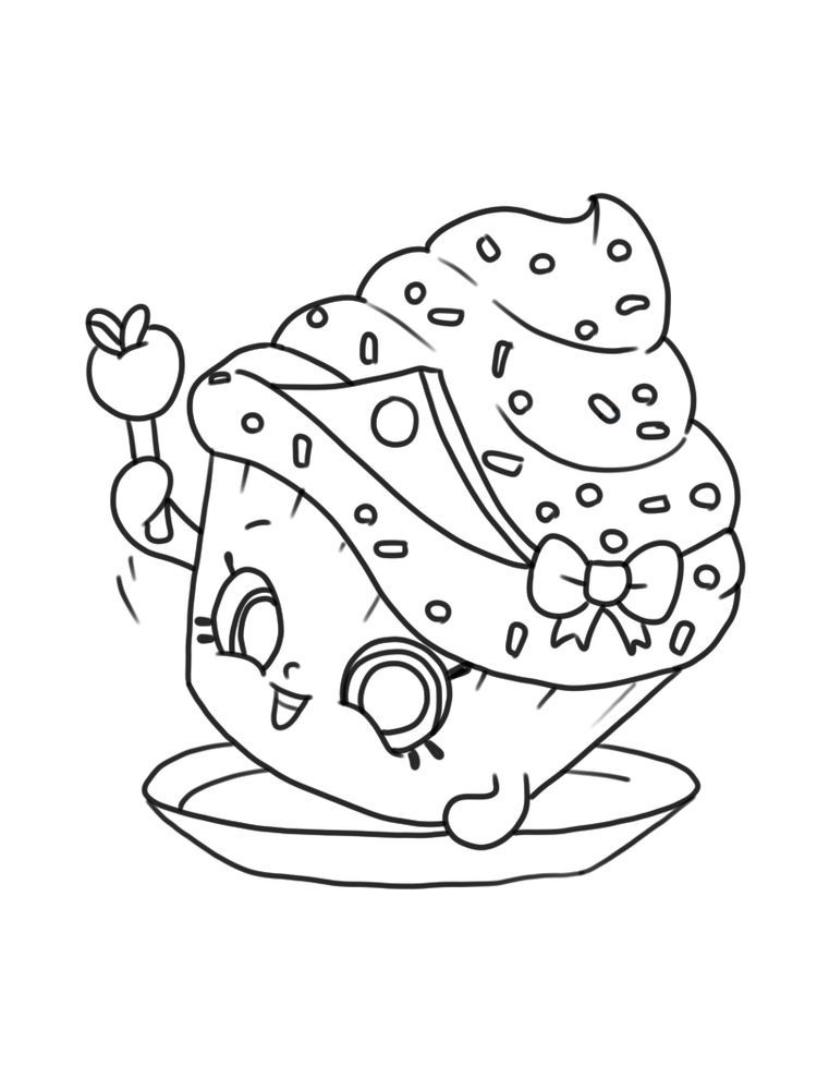 Cupcake Princess Coloring Page Shopkins Free Shopkins Are Tiny
