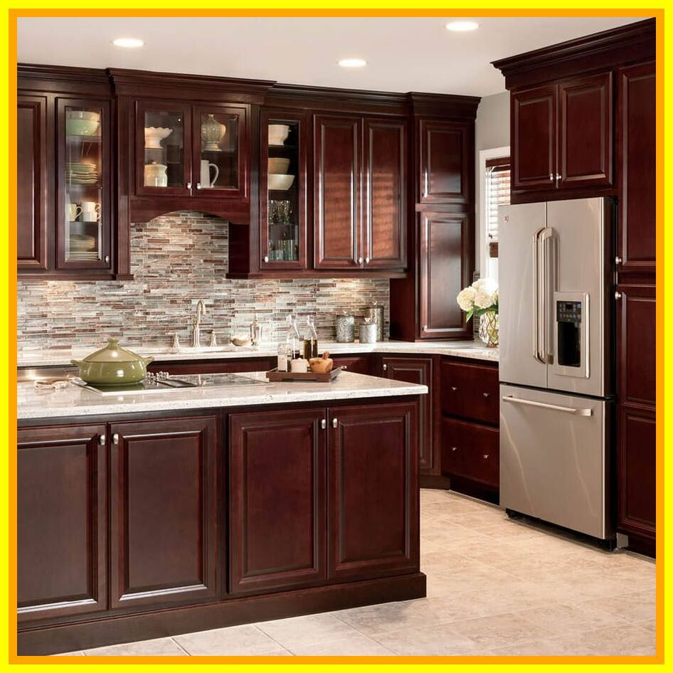 81 Reference Of Cherry Kitchen Cabinets With Light Countertops Rustic Kitchen Design Trendy Kitchen Backsplash Backsplash With Dark Cabinets