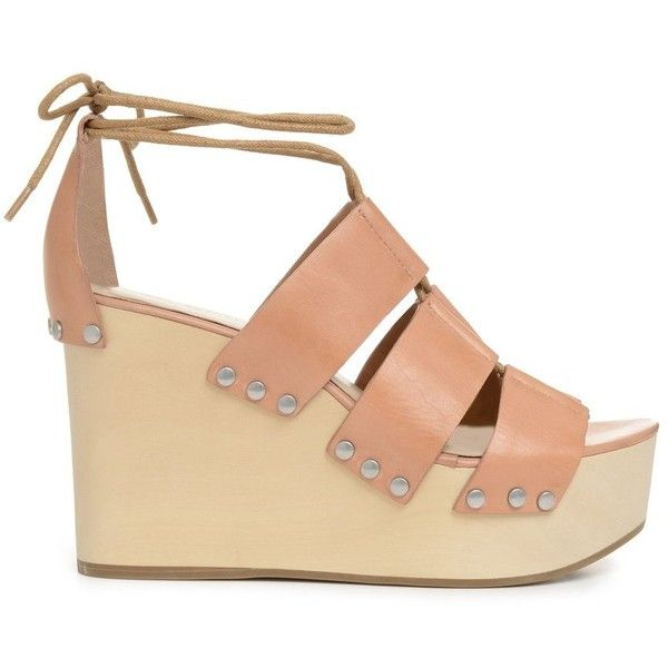 Loeffler Randall Ines Wedge Goop ❤ liked on Polyvore featuring shoes, genuine leather shoes, loeffler randall shoes, leather shoes, wedge sole shoes and wedge heel shoes