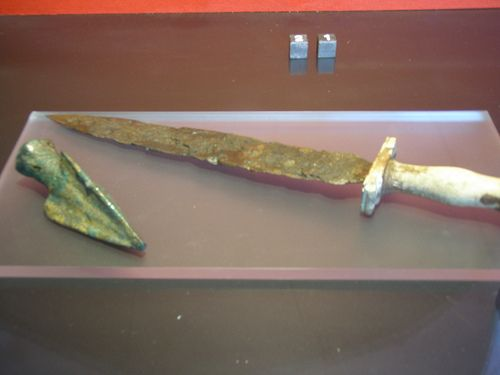 Roman sword and bronze Arrowhead found in the ruins or Heculeaneum