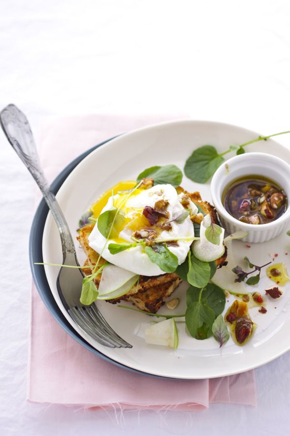 Brioche, Poached Egg Salad and Praline Crunch Panini.