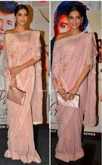 ded8dad25a23fa Sonam Kapoor wearing pale pink saree by Anamika Khanna at an event ...